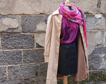 Waterproof/trench beige lining vintage Plaid