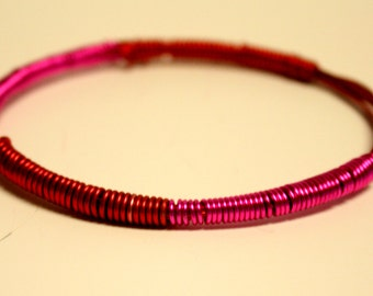 Red and pink wire bangle bracelet