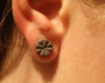Gray button earrings