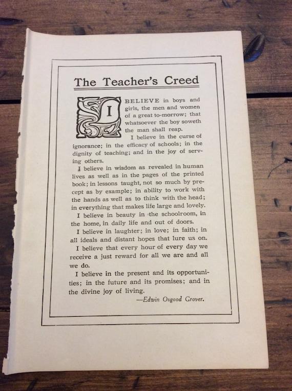 Antique Book Page, Teachers Creed, Children, Education Pledge (B015)