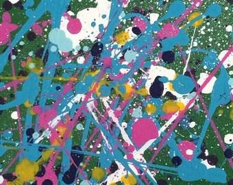 12 x 12 Green (2) splatter painting