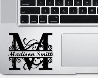 Regal split Monogram vinyl laptop decal - laptop sticker - car decal - car sticker - personalize sticker