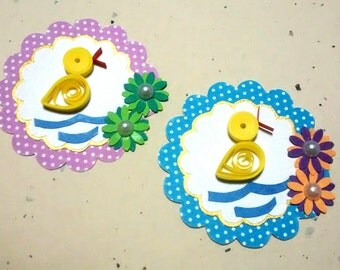 paper die cut QUILLING DUCK  2 SET,  card toppers, paper piecings, party decor, paper art, embellishment, crafts, card making, baby shower,