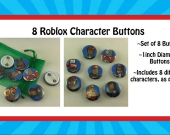 """Set of 8 Roblox themed 1"""" Buttons"""