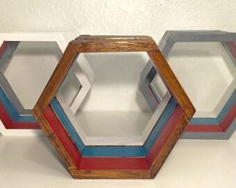 Set of 5 Hexagon Shelves, Geometric Shelves, Wall Decor