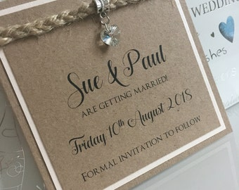 Save the date / hessian save the date / country chic save the date / kraft save the date / pretty wedding save the date