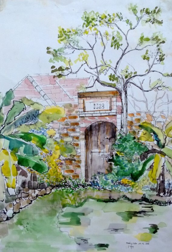 """HOUSE 1923 - 10.5x15"""" watercolor on paper, live painting, Vietnam village scene (Đường Lâm ), original by Nguyen Ly Phuong Ngoc"""