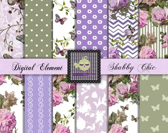 Digital Scrapbook Paper, Digital Paper, Lilac Digital Floral Paper, Digital Background Paper, Digital Floral Rose Paper. No. P85.DA