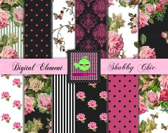 Digital Paper, Scrapbook Paper, Shabby Floral Paper, Digital Pink and Black Paper, Digital Vintage Pink Roses. No. P86.DA