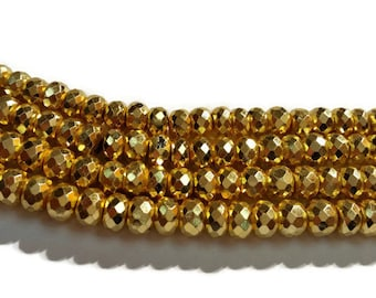 """8mm Golden Pyrite Faceted Roundel 14"""" Gold Coating on Pyrite"""