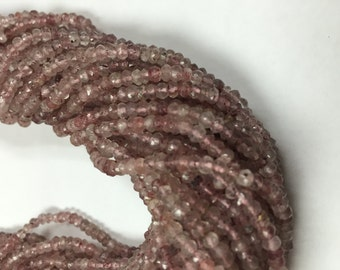 Strawberry Quartz Faceted 3.5-4MMmm- High Quality Faceted Beads, Faceted Roundel