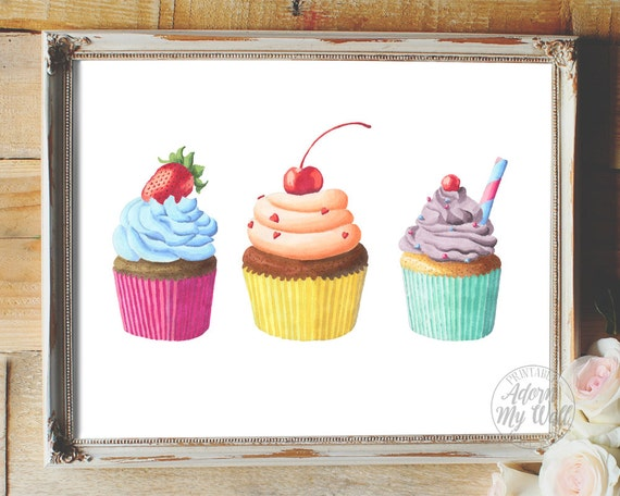 Https Www Etsy Com Listing 275495962 Cupcakes Printable Kitchen Food Art Wall
