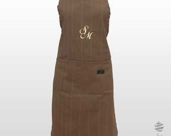 Adult Adjustable Apron with Personalized Monogram – Beige taupe