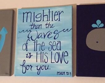 Handmade, original, painting, 8x10, group of 3, Nautical, Nursery,  Acrylic, Canvas, Wall Art, Whale, ship, anchor, Psalm 93:4,