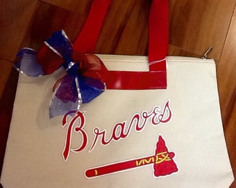 Handmade One of a kind Braves tote!