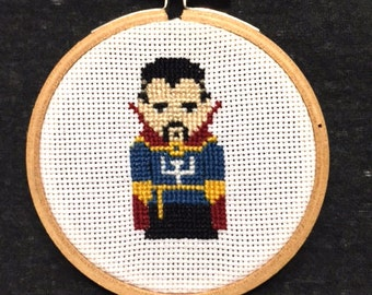 Superhero Dr. Strange Small Cross Stitch in a Wooden Hoop. Handmade!