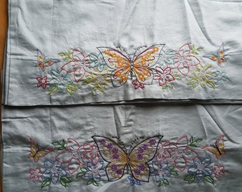 Hand Embroidered Pillowcases - King Size