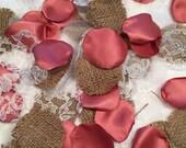 Satin Rose Petals/Burlap Rose Petals/Cinnamon Satin Rose Petals/Flower Girl Petals/Toss Petals/Basket Petals/Barn Wedding Petals/Brown Petal