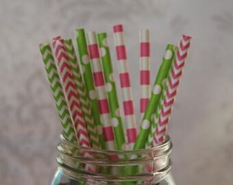 Strawberry Fields Paper Drinking Straws/Hot Pink Paper Straws/Lime Green Straws/Striped Drinking Straws/Birthday Party/Bridal Shower Straws