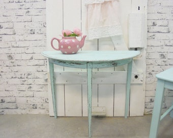 Shabby console table turquoise/mint