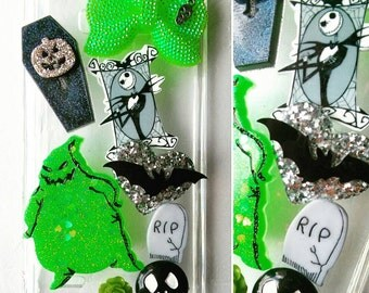 Bling Jack Skellington Oogie Boogie Nightmare before Christmas Bling tough impact phone case theme available for any phone type