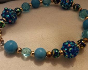 Blue disco ball & glass beaded bracelet
