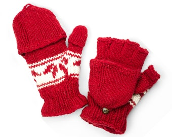 Wool Convertible Mittens, Texting Gloves, Hand Knit Glittens  - Red Snowflake - 495R