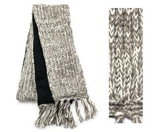 Wool Scarf, Hand Knit Wool Scarf, Winter Scarf - Taupe & Cream - 1564Y