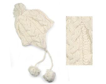 Hand Knit Wool Sherpa Hat, Womens Winter Earflap Hat - Cream Cable Knit - 1506W