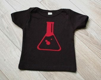 Gender Neutral Modern Organic Infant & Toddler T-shirt - Erlenmeyer Flask Science - Printed with Water Based Ink