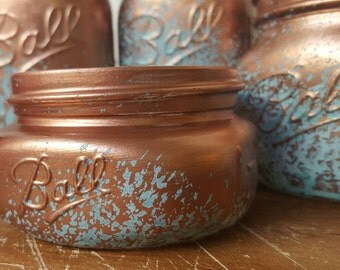 Mason Jar Bathroom Set -  Copper Blue Patina