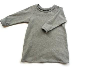 Long Gray Raglan Dress, toddler Dress, Raglan sleeve, Baby girl clothing, Baby girl dresses