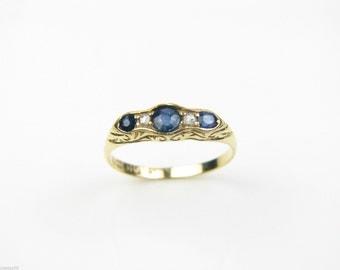 Ladies 18ct yellow gold Sapphire & diamond ring. Beautiful design. 3.3g. Ref: 41347