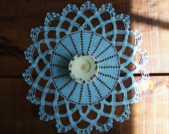 Sky Blue Cozy Crochet Tablecloth, Tablerunner, Doily, Place Mat, For Home Decor.