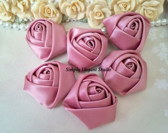 "1.8"" Rosy Mauve Satin Roses, 3 Vintage Rolled Fabric Rosettes, Baby Headband Flowers, Wedding Flowers, Flower Supply"