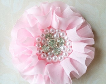 2 Light Pink Chiffon Flowers with Pearls and Rhinestones, Ruffled Fabric Flowers, Flat Back Flowers For Baby Hair Accessories
