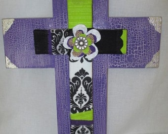 wood cross designed with fabric and center flowers