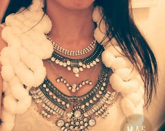 Silver Statement Necklace with Strass and Crystals -  HURIT Necklace