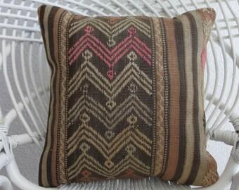 """kilim pillow turkish embroidered rug pillow pastel  kilim 16"""" x 16 bohemian pillow case 16x16 kilim throw pillow cushion hippie pillow 412"""