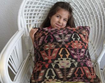 My daughter Kilim Pillow Cover 16 x 16 - 40 x 40 Vintage Turkish Kilim Rug Pillow Covers Cushion Covers Stripe Pillow Throw Pillows 156