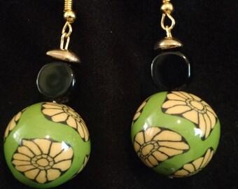 Yellow flowered earrings