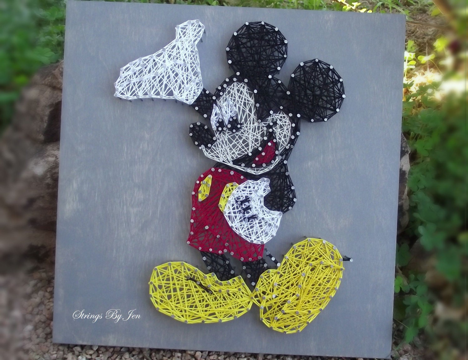 Mickey mouse wall art string art disney home decor wood sign for Mickey mouse home decorations
