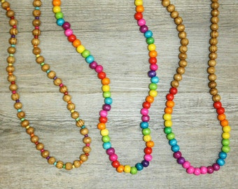 Rainbow Wooden Handmade Beaded Necklace! Bright and colourful! Three styles!