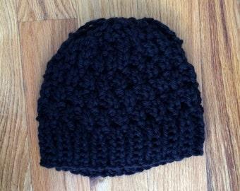 Handmade Knit Hat - Black