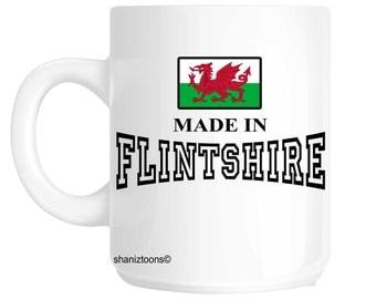 Made Born In Flintshire Birthday Gift Mug shan487