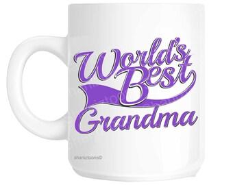 Grandma World's Best Purple Mother's Day Novelty Gift Mug shan820
