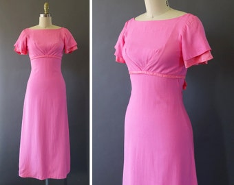 60s In the Pink Dress- 1960s Vintage Dress - 1960s Pink Long Formal Evening Dress - Extra Small Elegant Dress w Bow Detail by Emma Domb