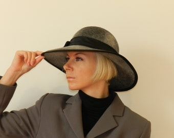 SPECIAL OFFER  - 30 % OFF        Black Brimmed Hat Hand Made Wool