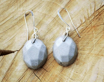 Concrete Drop Earrings with Sterling Silver