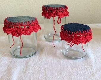 Crochet lace on pots set of 3